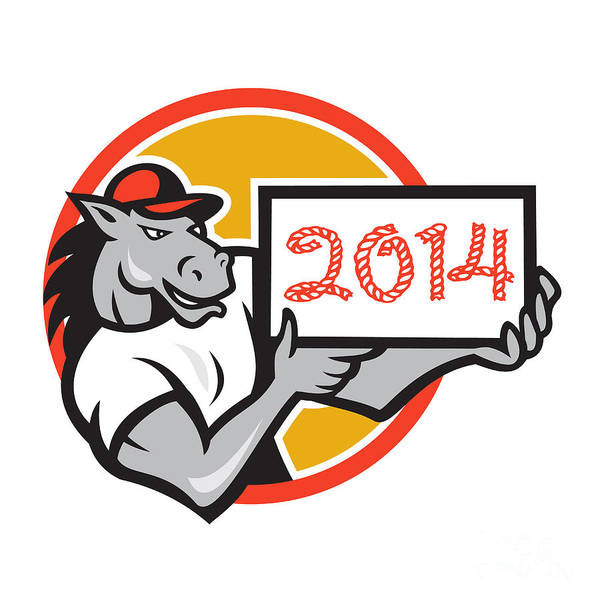 Horse Poster featuring the digital art Year Of Horse 2014 Showing Sign Cartoon by Aloysius Patrimonio