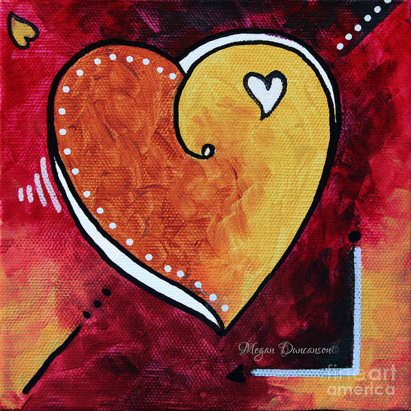 Yellow Poster featuring the painting Yellow Red Orange Heart Love Painting Pop Art Love By Megan Duncanson by Megan Duncanson