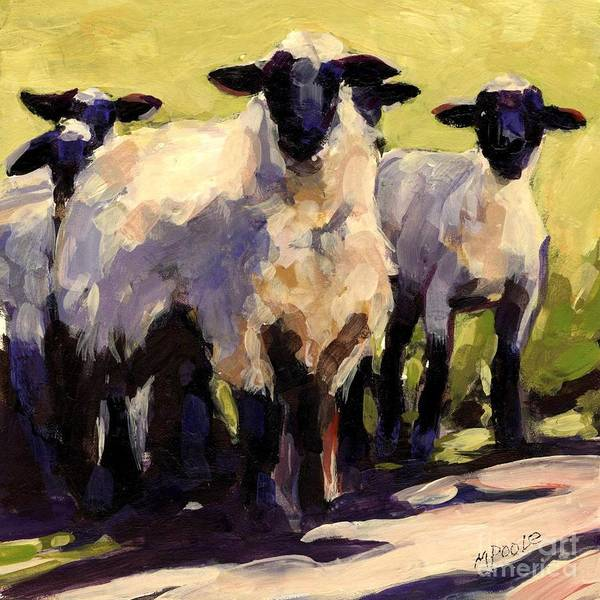 Sheep Poster featuring the painting You First by Molly Poole