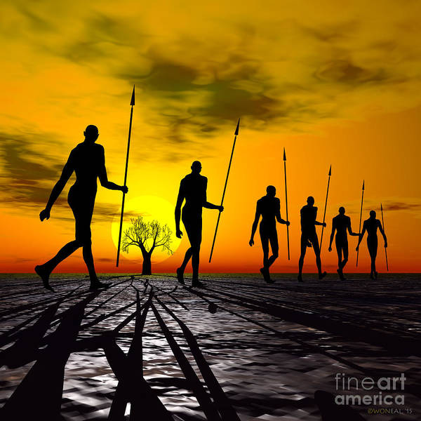 Humans Poster featuring the digital art Zulu Warrior Trek by Walter Oliver Neal