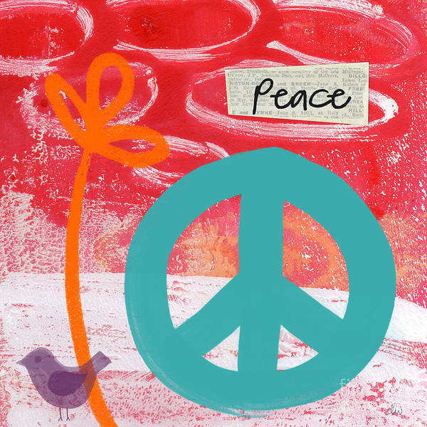 Abstract Poster featuring the mixed media Peace by Linda Woods