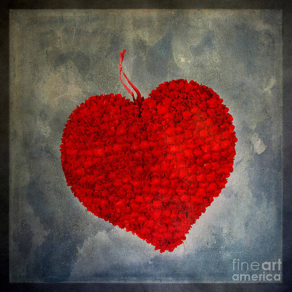 Texture Poster featuring the photograph Red Heart by Bernard Jaubert
