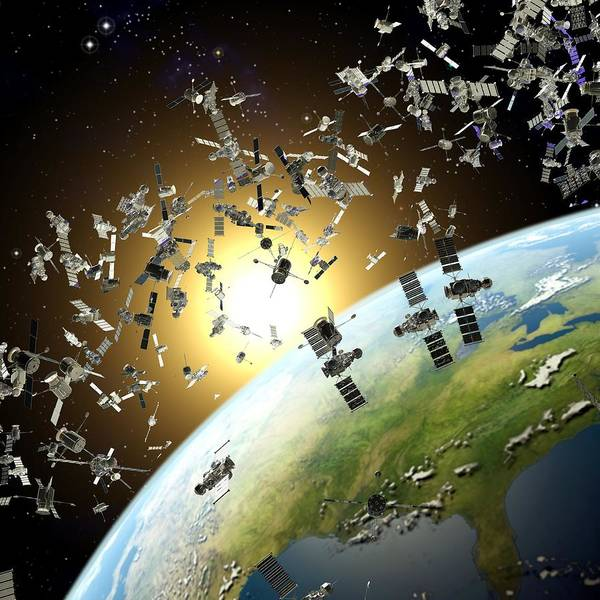 Earth Poster featuring the photograph Space Junk, Conceptual Artwork by Roger Harris