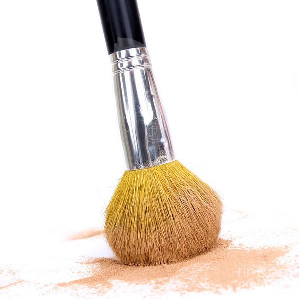 Cosmetics Poster featuring the photograph Face Powder And Make-up Brush by Bernard Jaubert