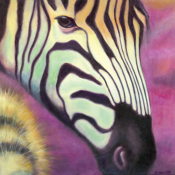 Zebra Poster featuring the painting Wild Thing by Tammy Olson
