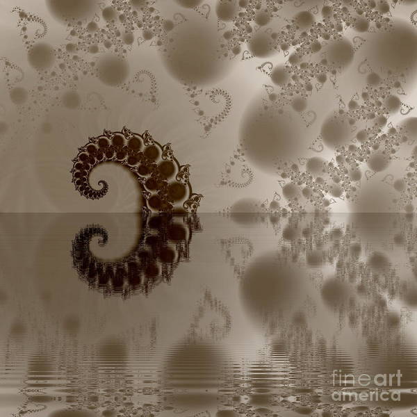 Abstract Poster featuring the digital art Fractal Reflection by Odon Czintos