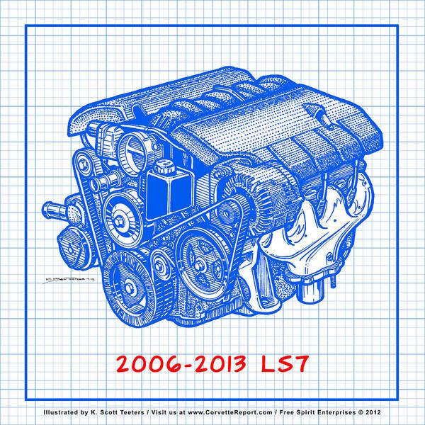 2006 2013 z06 ls7 corvette engine blueprint poster by k scott teeters c6 corvette poster featuring the drawing 2006 2013 z06 ls7 corvette engine blueprint by k malvernweather Images