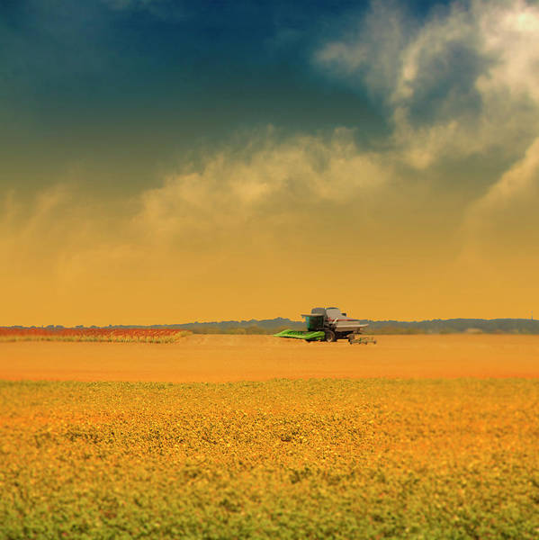 Square Poster featuring the photograph Agricultural Landscape At Sunrise by Photo by Jim Norris