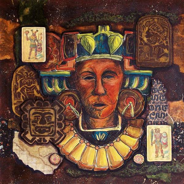 Aztec Poster featuring the mixed media Ancient Warrior by Candy Mayer