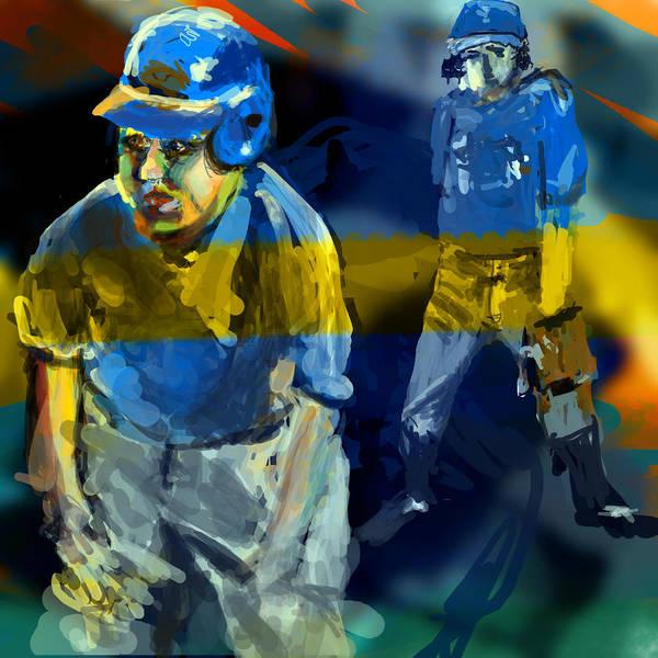 Baseball Poster featuring the digital art Baseball Stances by James Thomas