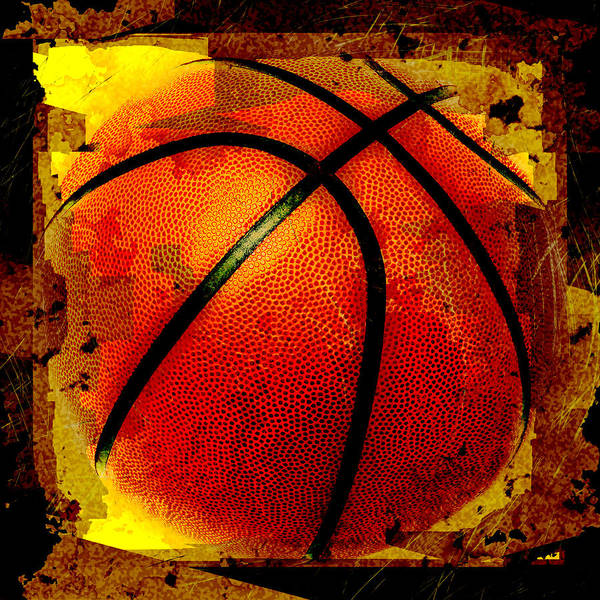 Basketball Poster featuring the digital art Basketball Abstract by David G Paul