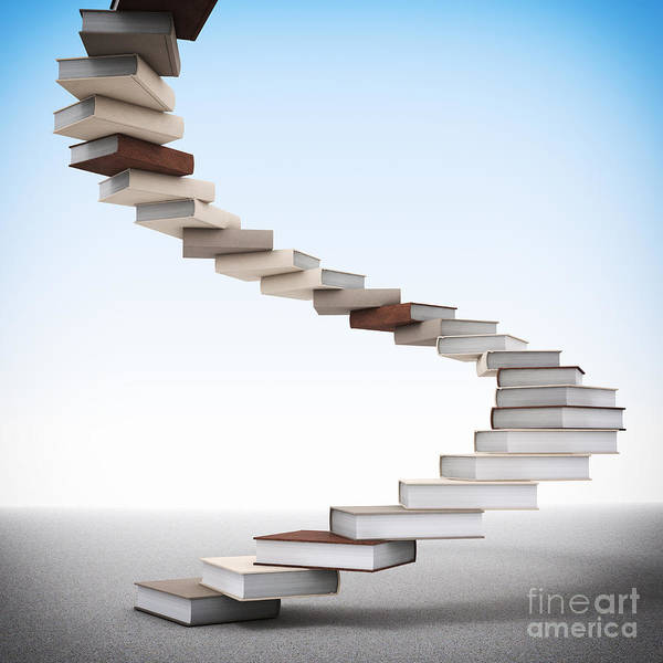 Book Poster featuring the photograph Book Stair by Gualtiero Boffi