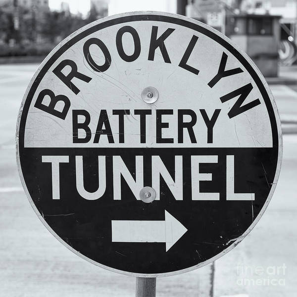 Clarence Holmes Poster featuring the photograph Brooklyn-battery Tunnel Sign I by Clarence Holmes