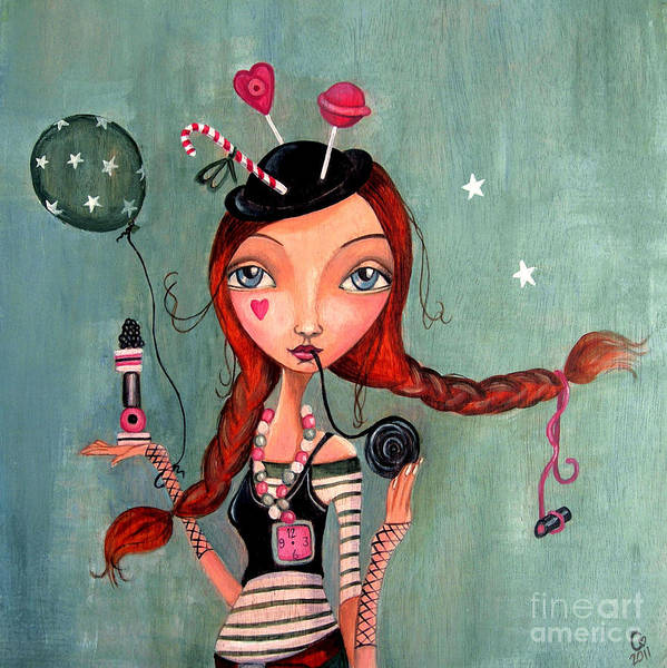 Cartita Design Poster featuring the painting Candy Girl by Caroline Bonne-Muller
