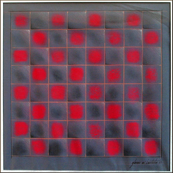 Chess Board Poster featuring the pastel Chessboard 1982 by Glenn Bautista