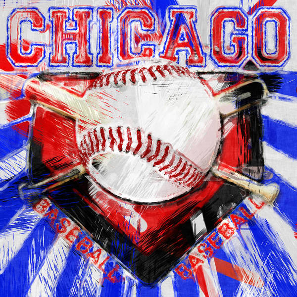 Chicago Poster featuring the photograph Chicago Baseball Abstract by David G Paul