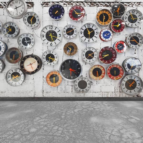 Aged Poster featuring the photograph Clocks On The Wall by Setsiri Silapasuwanchai