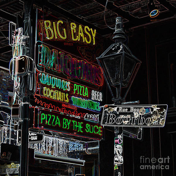 Travelpixpro Poster featuring the digital art Colorful Neon Sign On Bourbon Street Corner French Quarter New Orleans Glowing Edges Digital Art by Shawn O'Brien