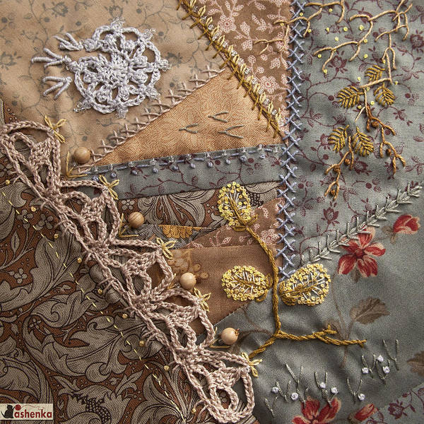 Crazy Quilt Poster featuring the photograph crazy quilt block May by Masha Novoselova