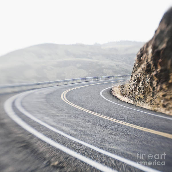 Asphalt Poster featuring the photograph Curving Two Lane Road by Jetta Productions, Inc