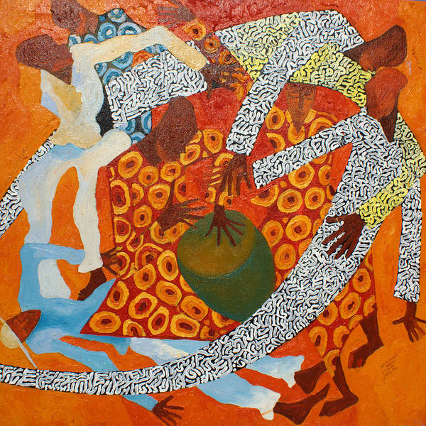 Linear Poster featuring the painting Dancers IIi by Anina von Wachtel Diani Beach Art Gallery