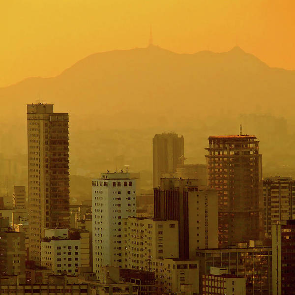 Square Poster featuring the photograph Dusk In Sao Paulo, Brazil by Alex Joukowski
