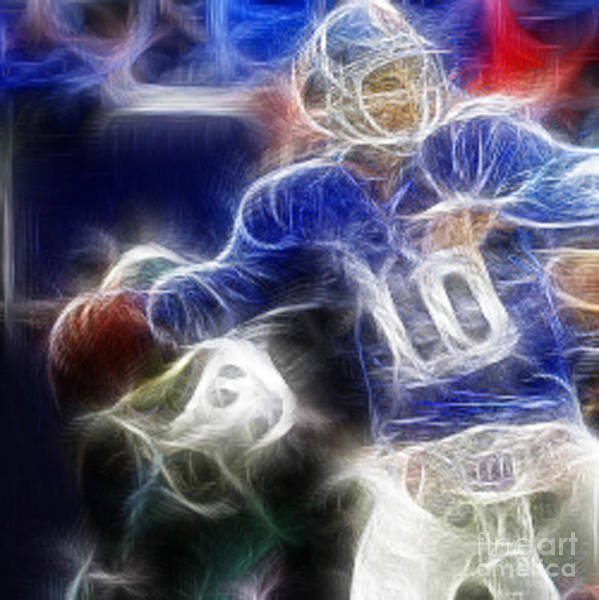 Eli Manning Poster featuring the digital art Eli Manning Ny Giants by Paul Ward