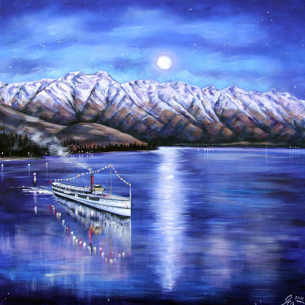 Queenstown Poster featuring the painting Evening Cruise Queenstown by Ira Mitchell-Kirk