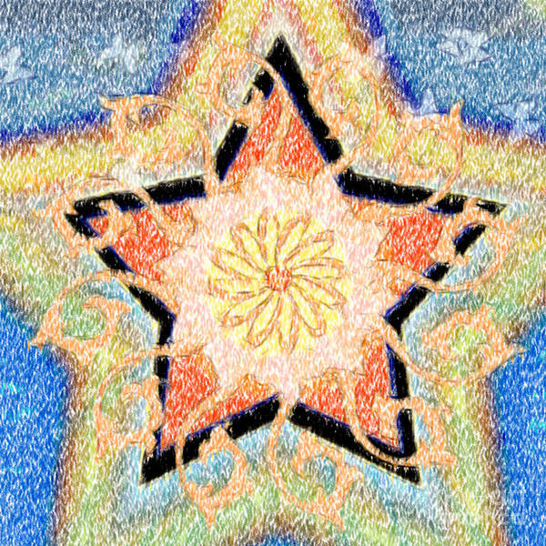 Star Poster featuring the digital art Floral Star Yantra by Gia Simone