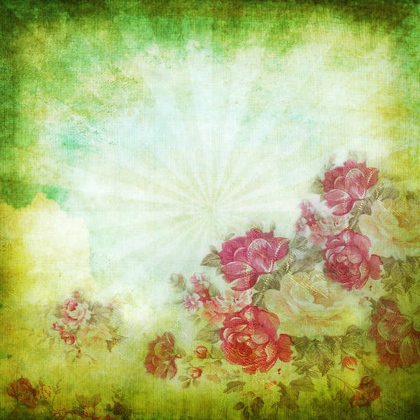 Abstract Poster featuring the photograph Flower Pattern On Paper by Setsiri Silapasuwanchai