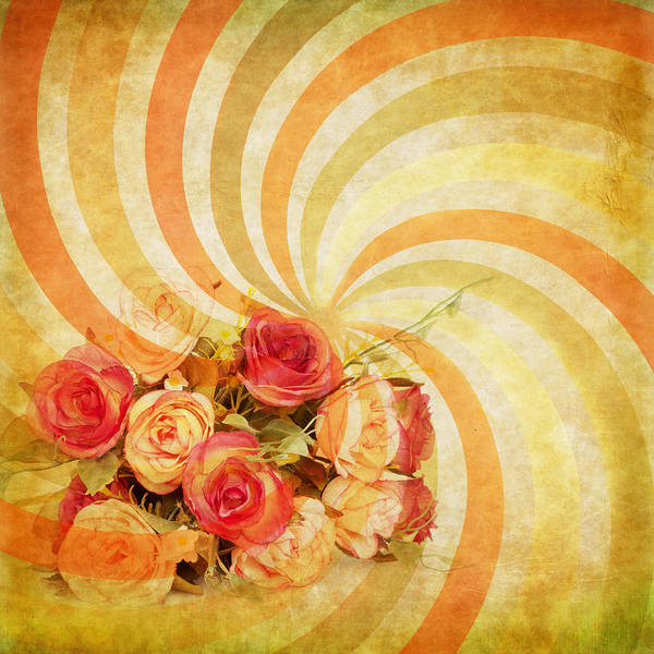 Abstract Poster featuring the photograph Flower Pattern Retro Style by Setsiri Silapasuwanchai