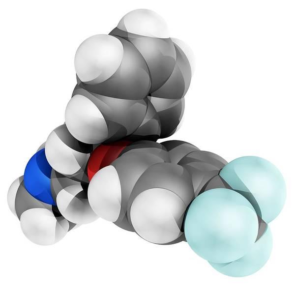 Molecular Poster featuring the photograph Fluoxetine Antidepressant Drug Molecule by Laguna Design