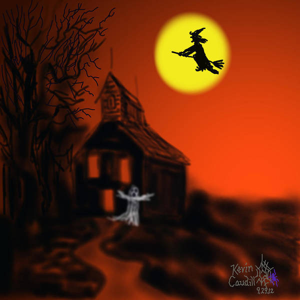 Halloween Card Poster featuring the mixed media Fly By Night by Kevin Caudill