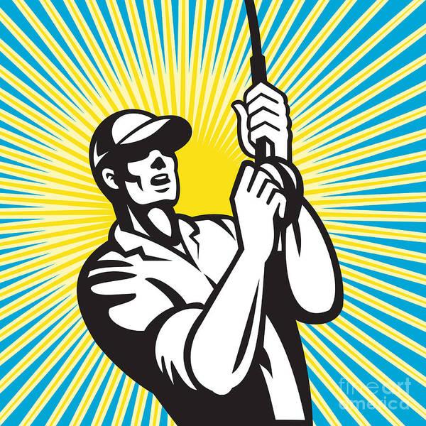 Fishing Poster featuring the digital art Fly Fisherman Fishing Retro Woodcut by Aloysius Patrimonio