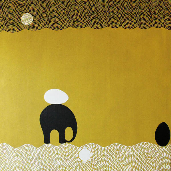 Elephant Poster featuring the painting From Birth To Death by Kriste Oja