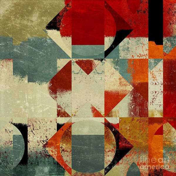 Abstract Poster featuring the digital art Geomix 04 - 39c3at227a by Variance Collections