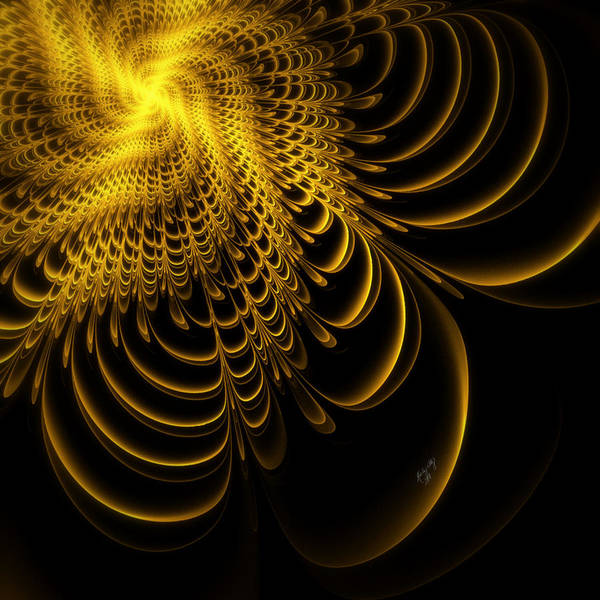 Fractal Poster featuring the digital art Gold Lame' by Karla White