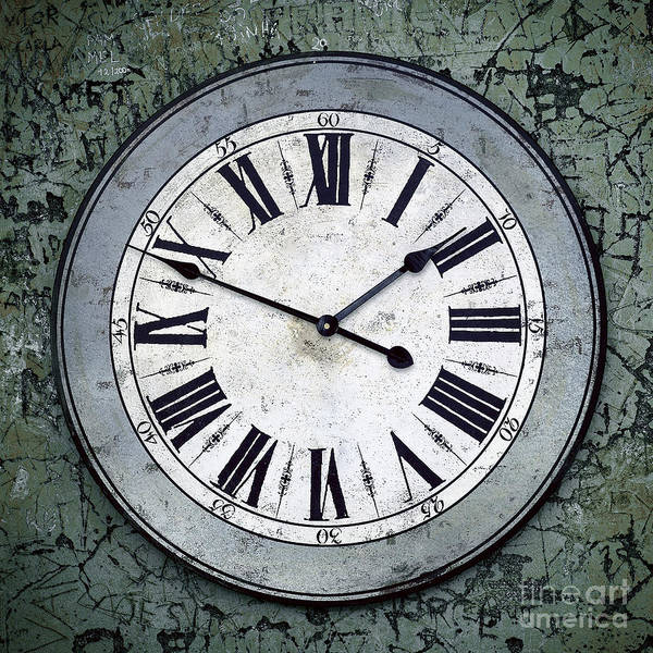 Abstract Poster featuring the photograph Grungy Clock by Carlos Caetano