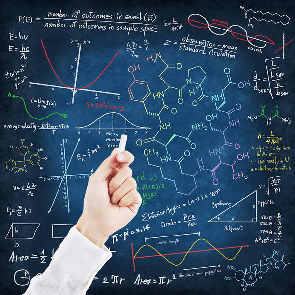 Algebra Poster featuring the photograph Hand Writing Science Formulas by Setsiri Silapasuwanchai