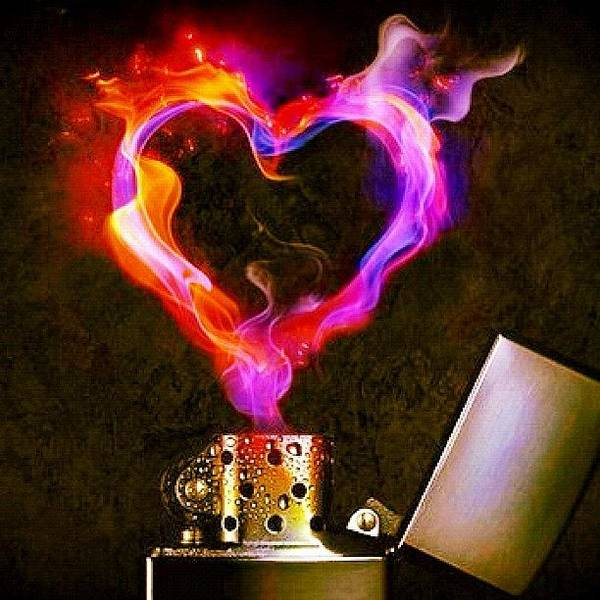 Heart Poster Featuring The Photograph Love Lighter Flame Fire
