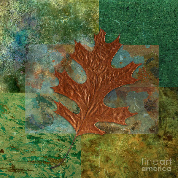 Leaf Poster featuring the digital art Leaf Life 01 - Green 01b2 by Variance Collections