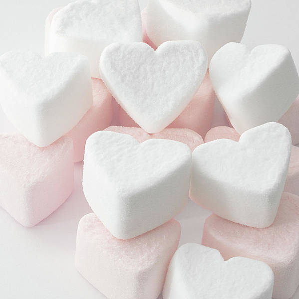 Square Poster featuring the photograph Marshmallow Love Hearts by Kim Haddon Photography