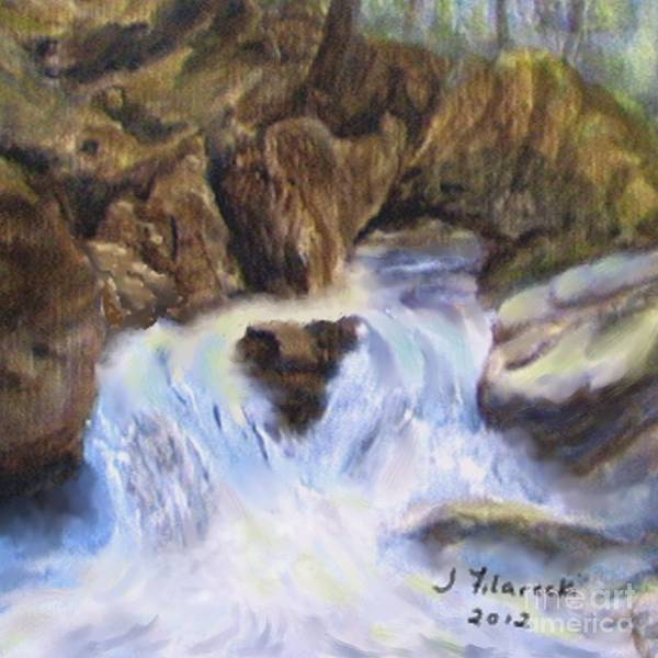 Mountain Waterfalls Poster featuring the painting Mountain Waterfalls Painting by Judy Filarecki