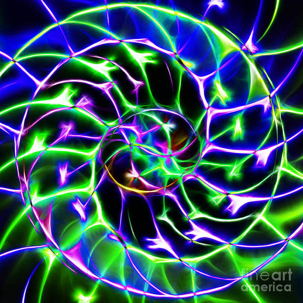 Yingyang Poster featuring the photograph Nautilus Shell Ying And Yang - Electric - V2 - Blue-green by Wingsdomain Art and Photography