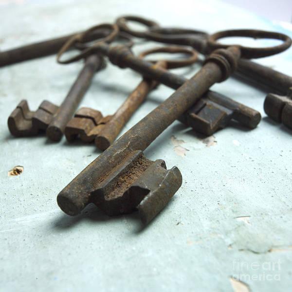 Through Poster featuring the photograph Old Keys by Bernard Jaubert