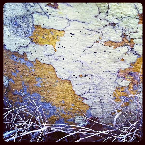 Chipping Paint Poster featuring the photograph Painted Concrete Map by Anna Villarreal Garbis