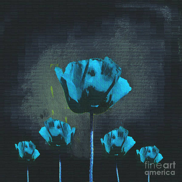 Poppies Poster featuring the digital art Poppies Fun 01 - Bb by Variance Collections