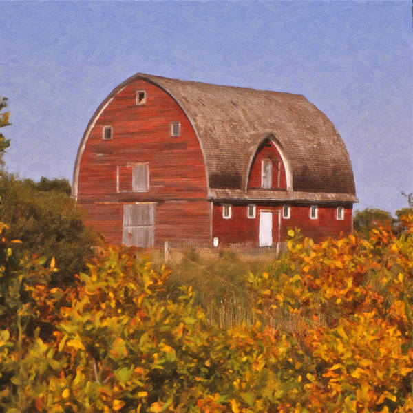 Fall Colors Poster featuring the painting Red Fall Barn by Roger Bee