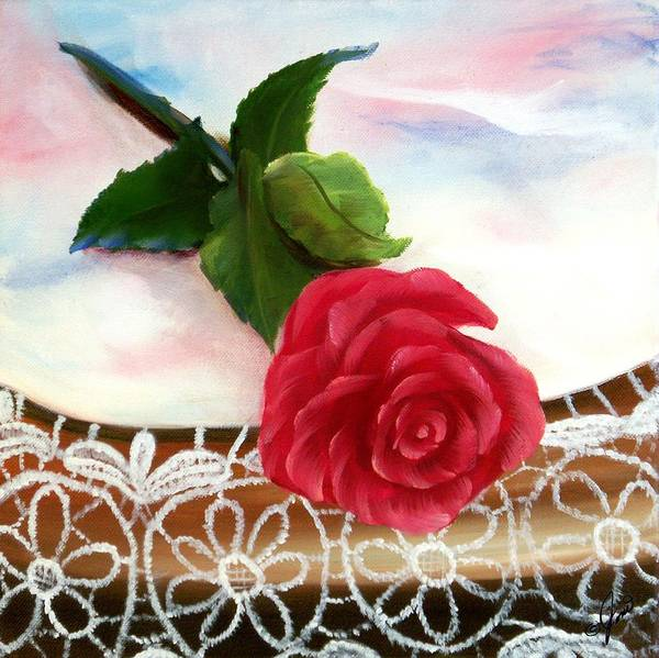 Rose Poster featuring the painting Rose And Lace by Joni McPherson