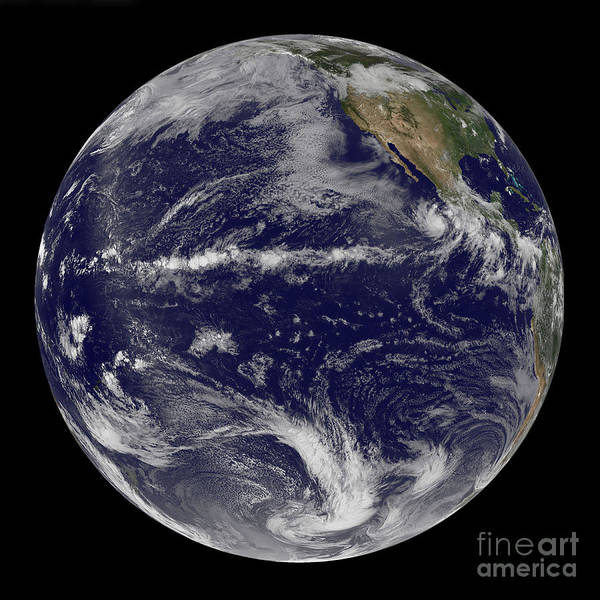 Earth Poster featuring the photograph Satellite Image Of Earth Centered by Stocktrek Images